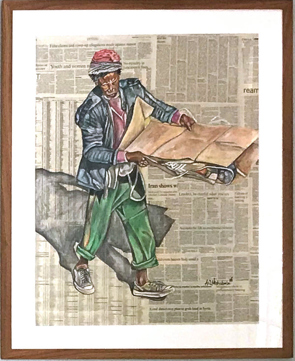 Andrew Ntshabele Painting on Newspaper 'Busy Man' - framed