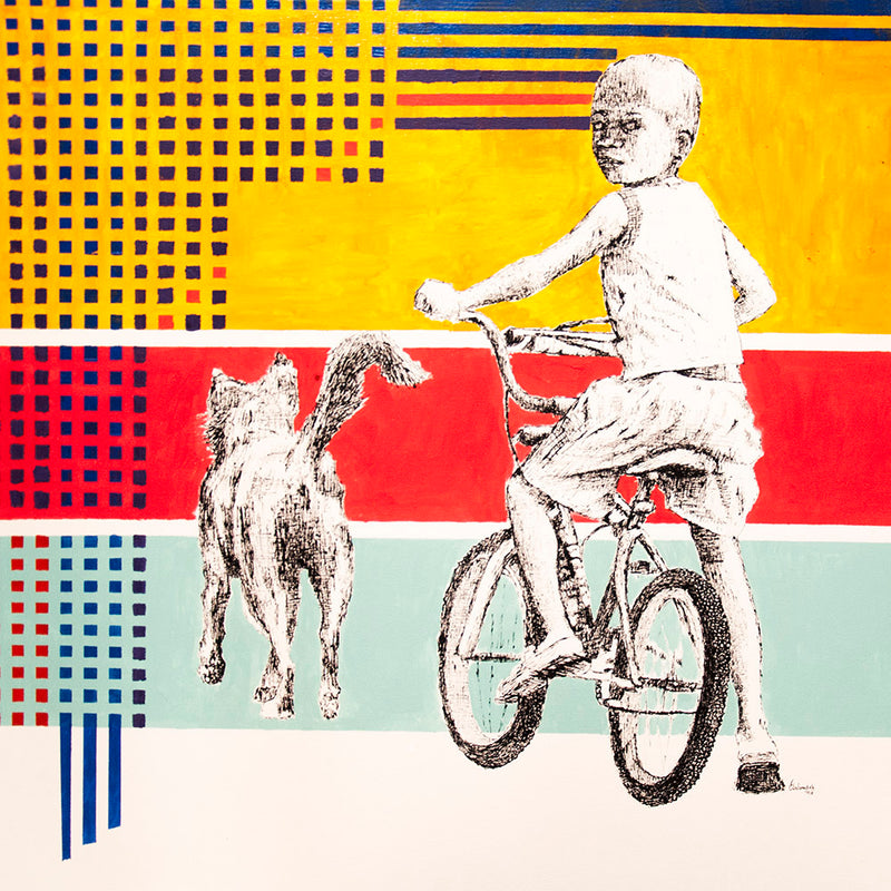 Edward Selematsela 'Boy on a bike with a dog' C