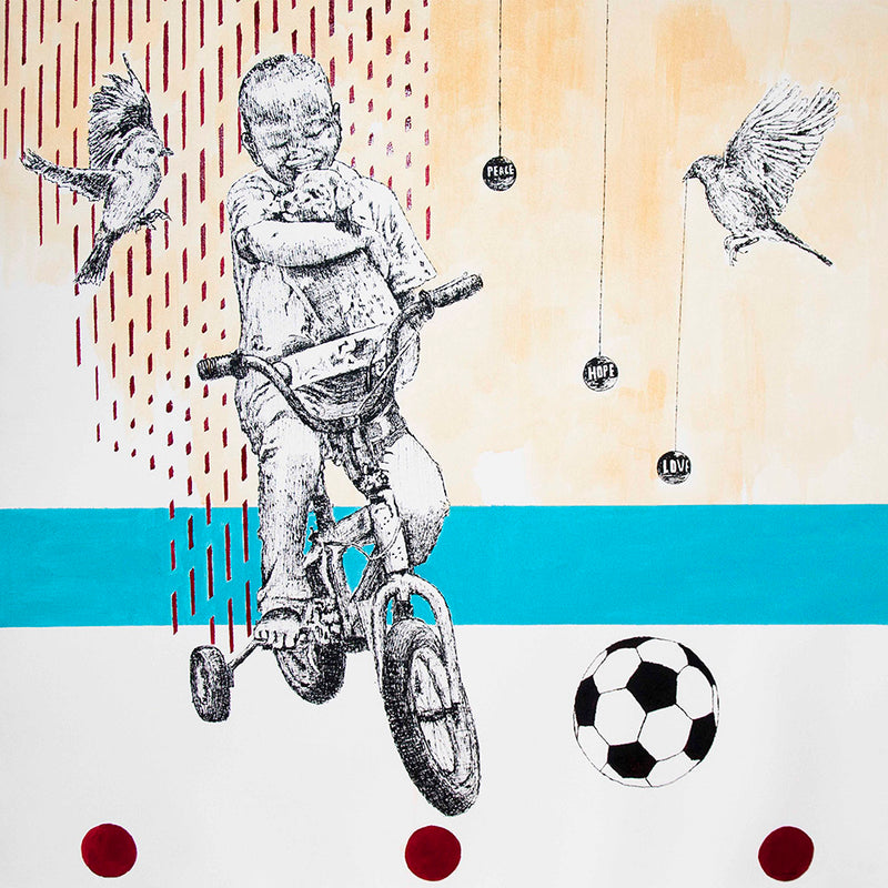 Edward Selematsela 'A boy on a bike with dog, two birds and a soccer ball' C