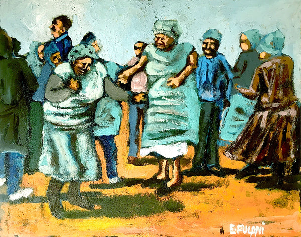 Ernest Fulani Painting 'People dancing'