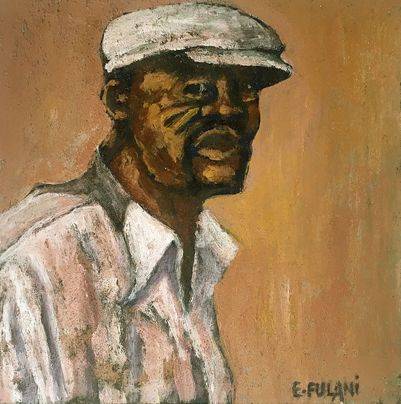 Ernest Fulani Painting 'Man with hat' C