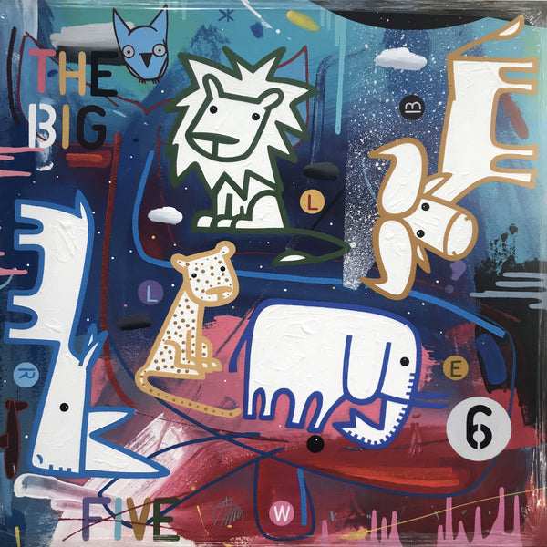 David Kuijers Painting 'The big 6' 65x65 cm C