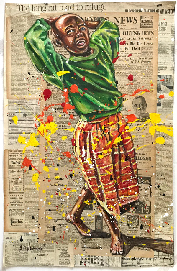 Andrew Ntshabele 'Dressed in green and orange' 93x60cm