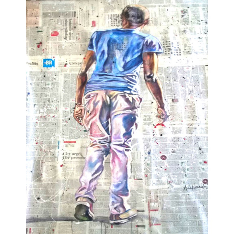 Andrew Ntshabele Painting 'Guy with blue shirt'