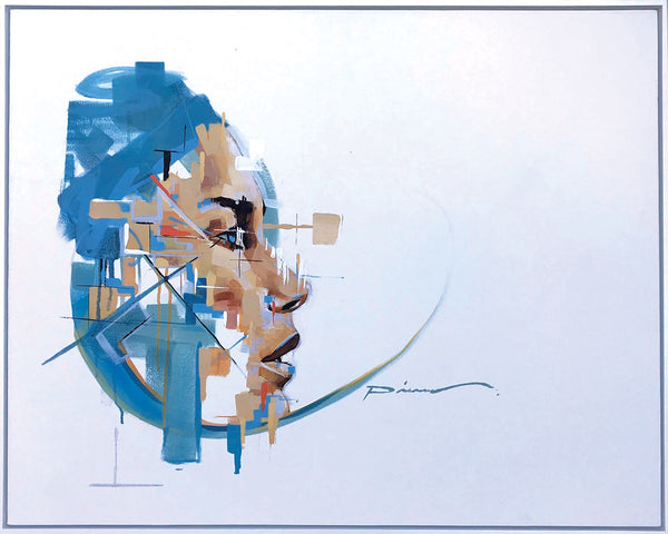 Pierre Issa Painting 'White turquoise face from side' 80 x 100 cm C