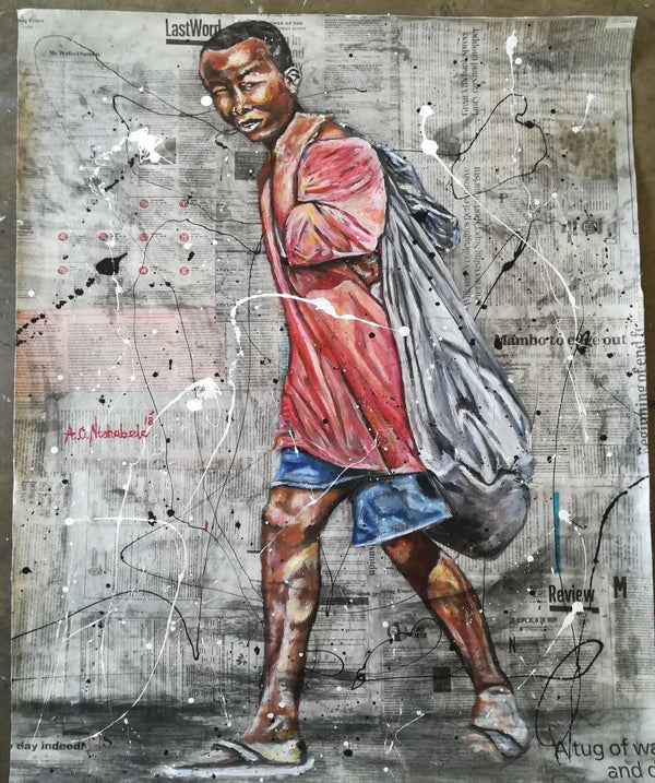 Andrew Ntshabele Painting on Newspaper 'In Search of a Way Home II' C