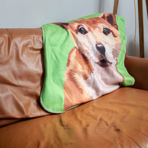 Personalised dog green Fleece Blanket