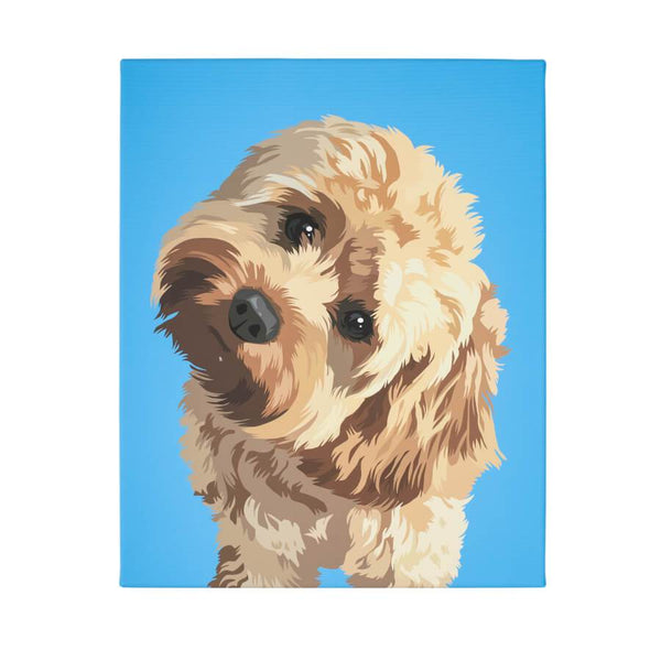 dog canvas with sky blue background