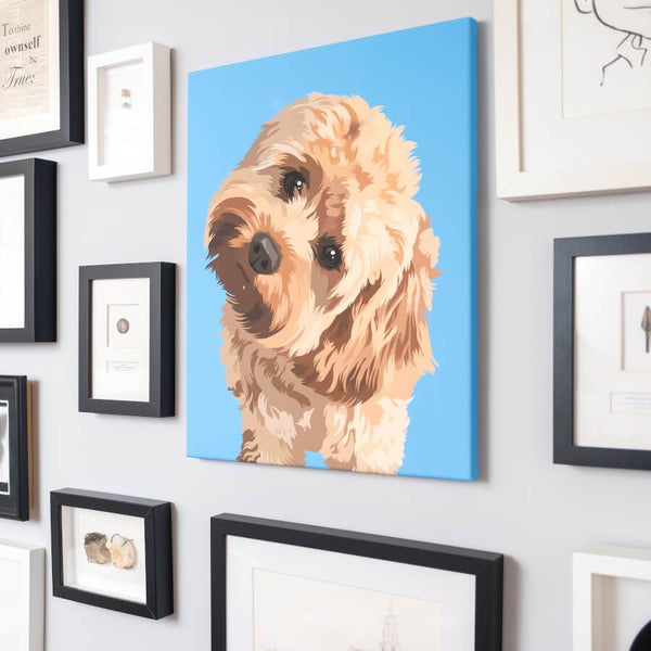 personalized dog canvas hangs on the wall