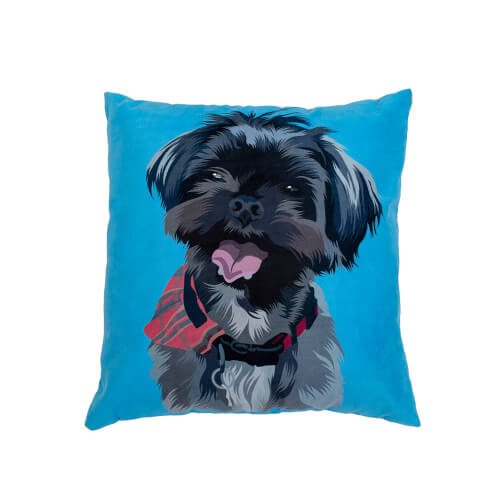 personalised blue dog cushion