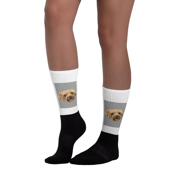 woman wearing custom made dog socks