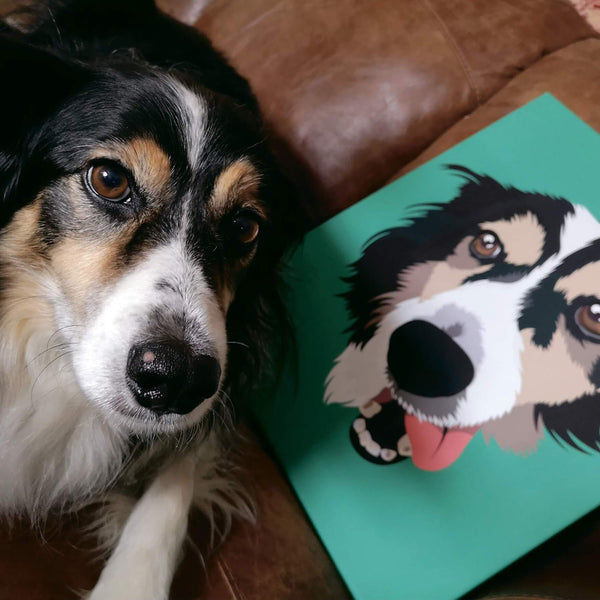 happy dog with canvas print