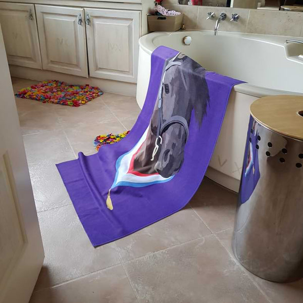 personalised horse beach towel