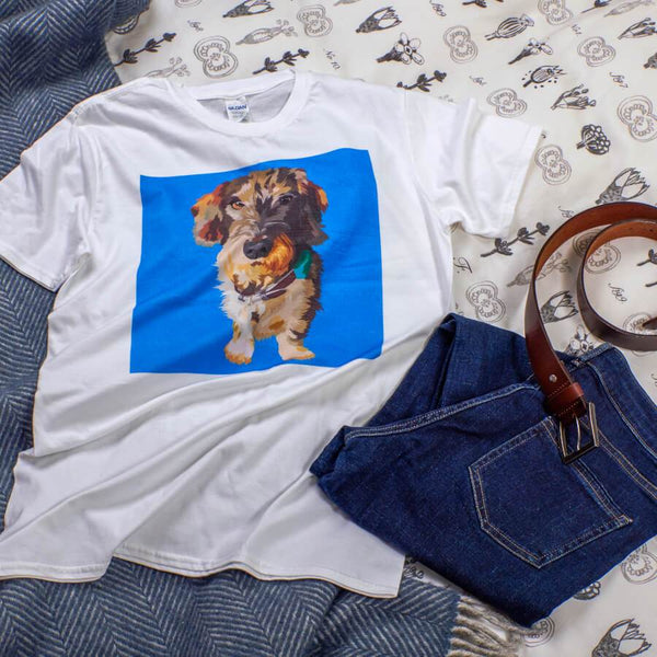 dog t shirt with blue background