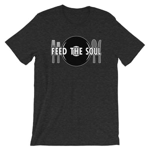 Feed the Soul t shirt in dark heather grey. Soft, comfy and stylish modern fit, sure to be a favourite.
