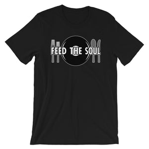 Feed the Soul t shirt in black. Soft, comfy and stylish modern fit, sure to be a favourite.