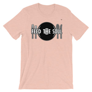 Feed the Soul t shirt in heather peach. Soft, comfy and stylish modern fit, sure to be a favourite.