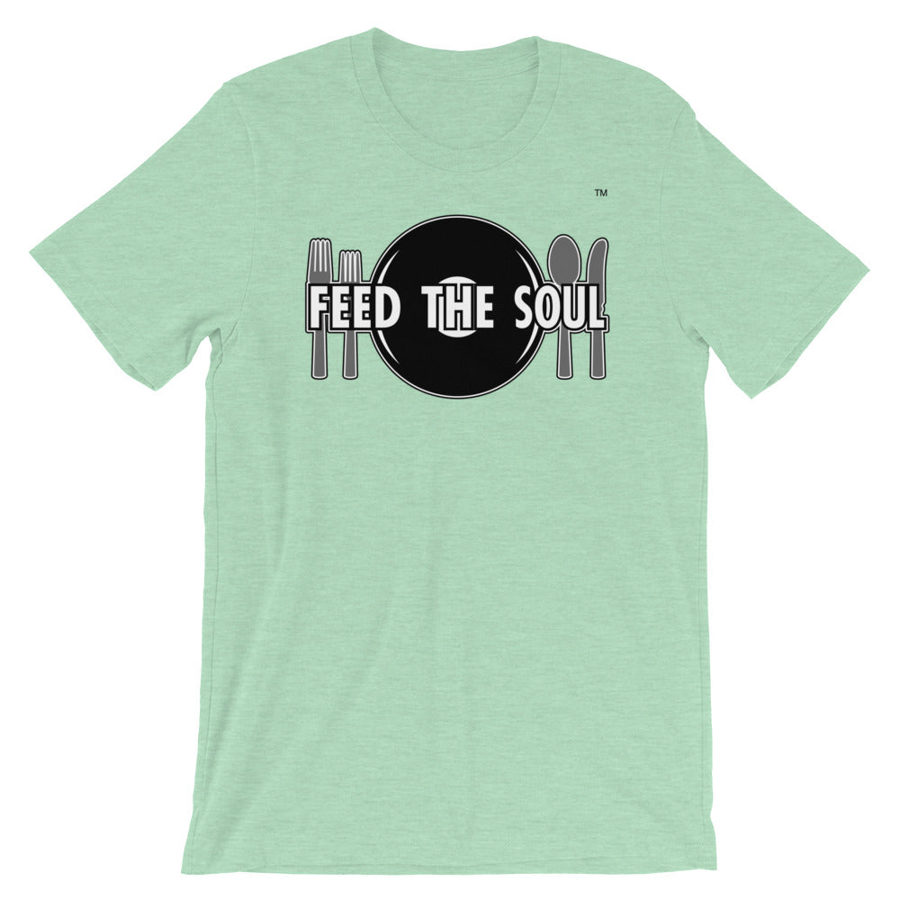 Feed the Soul t shirt in light green heather. Soft, comfy and stylish modern fit, sure to be a favourite.