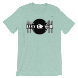 Feed the Soul t shirt in dark green mint heather. Soft, comfy and stylish modern fit, sure to be a favourite.