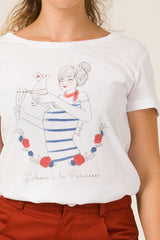 T-shirt - L'amour à la parisienne (Blanc) - Escale-shop