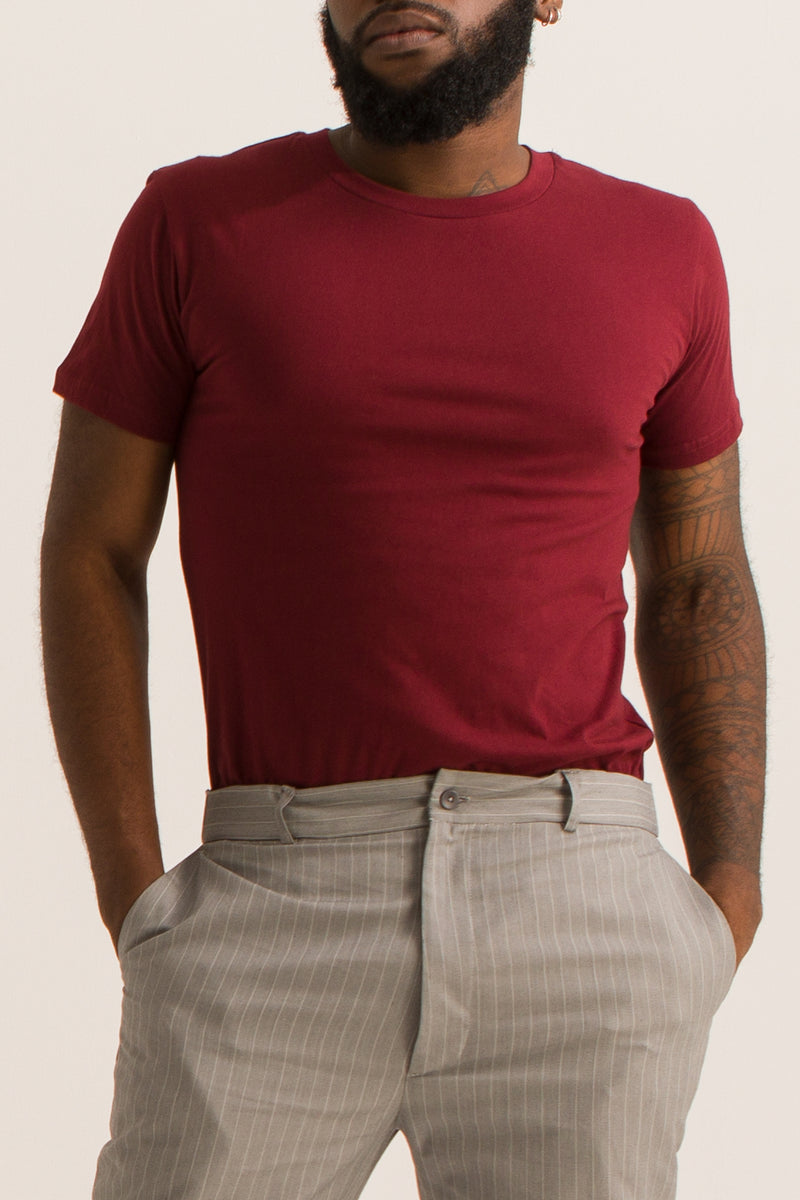 T-shirt Homme col rond (Bordeaux) - Escale-shop