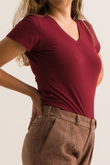 T-shirt Femme col V (Bordeaux) - Escale-shop