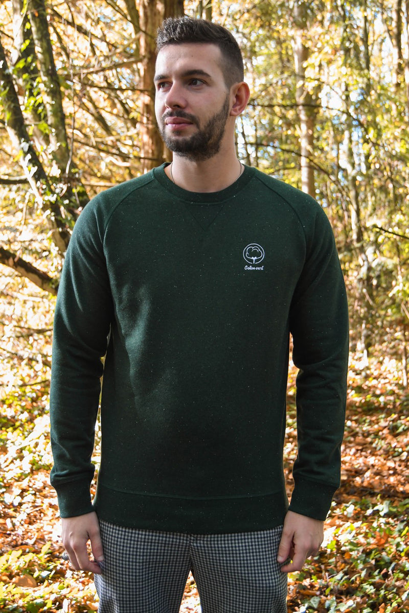 Sweat mixte vert chiné brodé en coton bio - Escale-shop