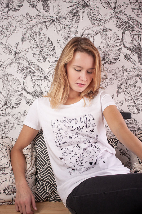 T-shirt blanc Cactus - Escale-shop