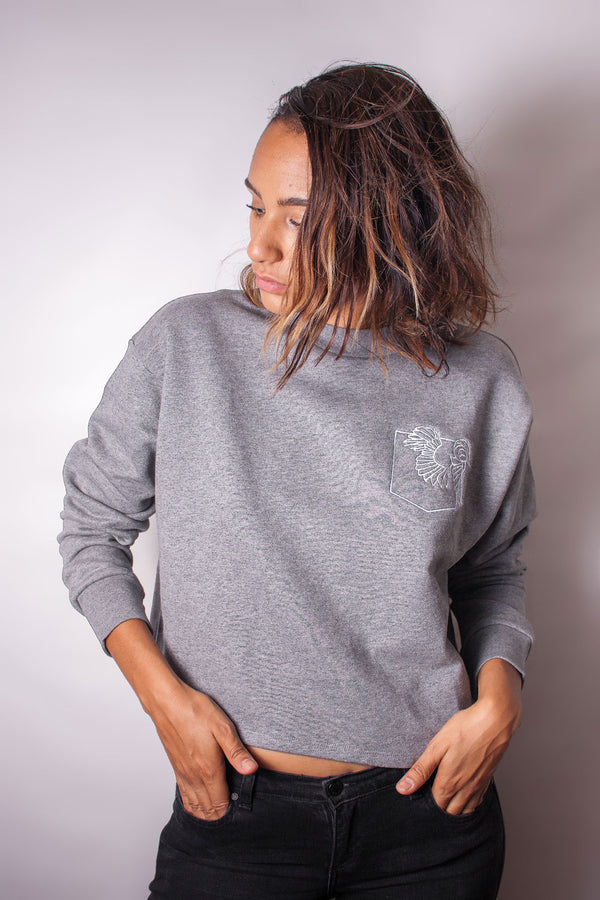 "Sweat gris brodé ""Sleeping beauty"" - Escale-shop"