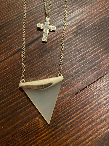 Gold Cross & Arrow Necklace