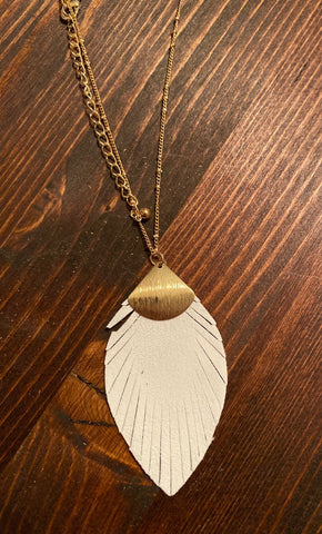 Fringe Suede Leaf Necklace