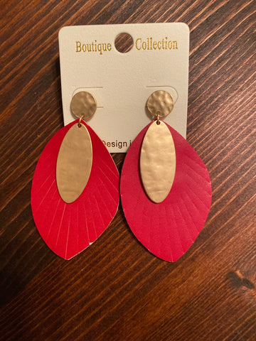 Red with Matte Gold Leather Earrings