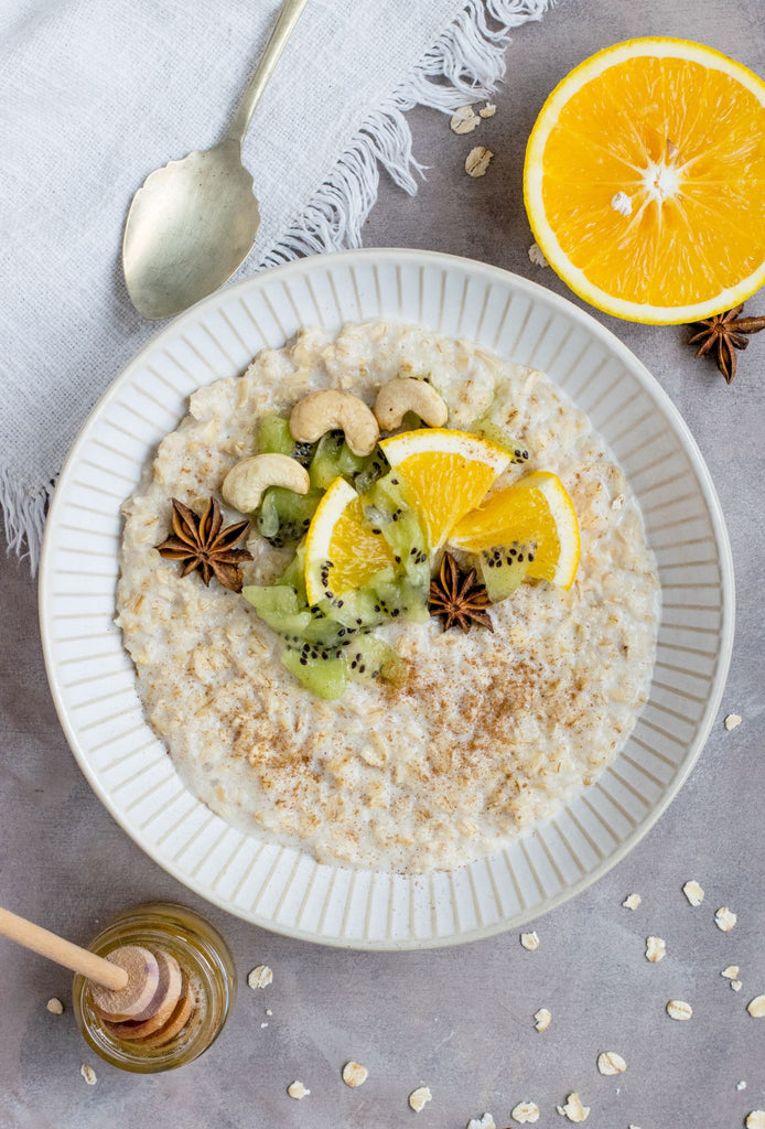 oatmeal recipe with fruit and nut milk