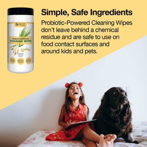 SCD Probiotic-Powered All-Purpose Cleaning Wipes – Natural Cleaning Wipes with Lemongrass Essential Oils – Kid & Pet Safe