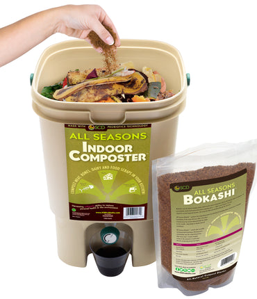 Easy-Start Kitchen Compost Kit with All Seasons Indoor Composter® Bin + All Seasons Bokashi™