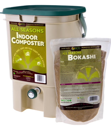All Seasons Indoor Composter Kit - With All Seasons Bokashi - SCD Probiotics