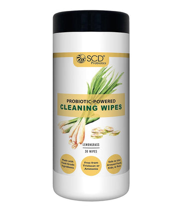 SCD Probiotics Probiotic-Powered Cleaning Wipes - Natural Cleaning Wipes with Lemongrass Essential Oils - Kid & Pet Safe