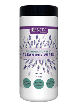 SCD Probiotic-Powered All-Purpose Cleaning Wipes – Natural Cleaning Wipes with Lavender Essential Oils – Kid & Pet Safe