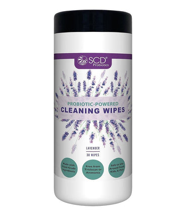 SCD Probiotics® Probiotic-Powered Cleaning Wipes – Natural Cleaning Wipes with Lavender Essential Oils – Kid & Pet Safe