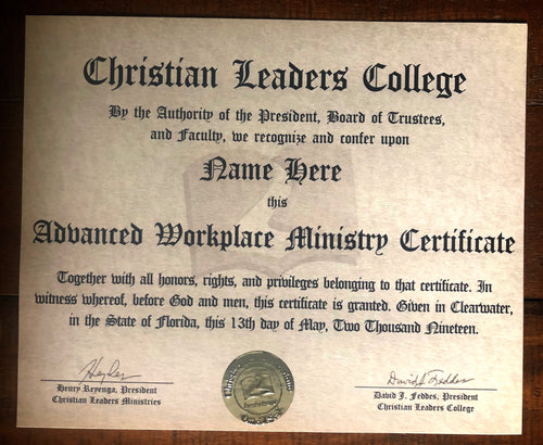 Advanced Workplace Ministry Certificate