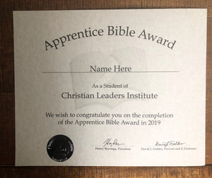 Apprentice Bible Award