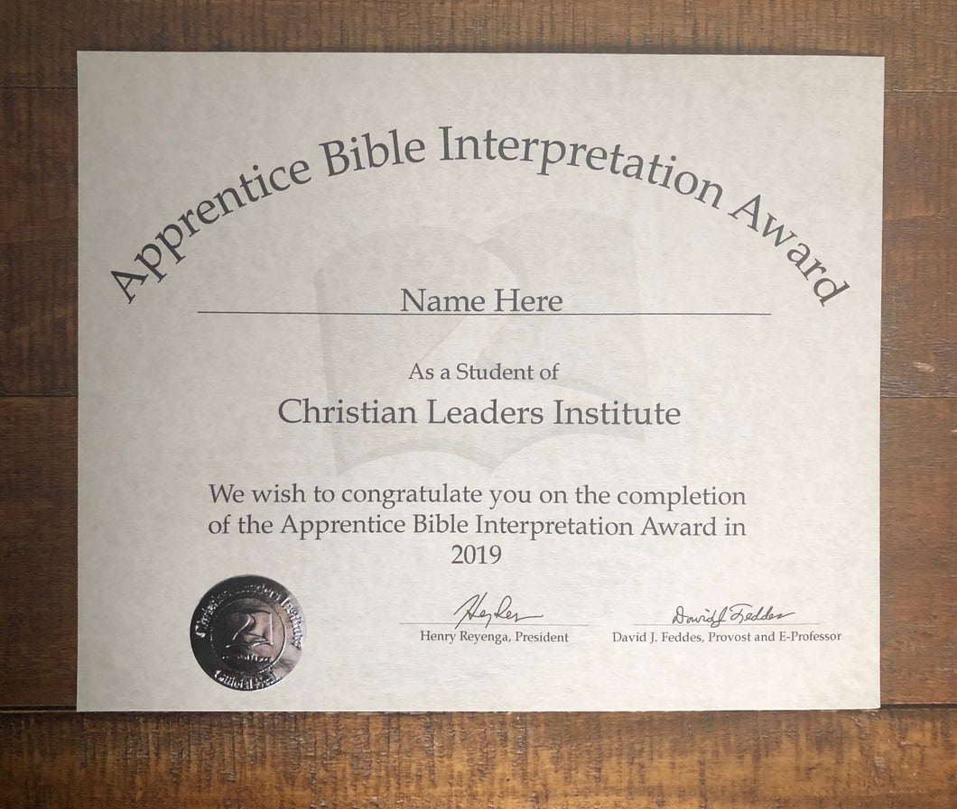 Apprentice Bible Interpretation Award (Tier 2)