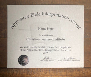 Apprentice Bible Interpretation Award (Tier 1)