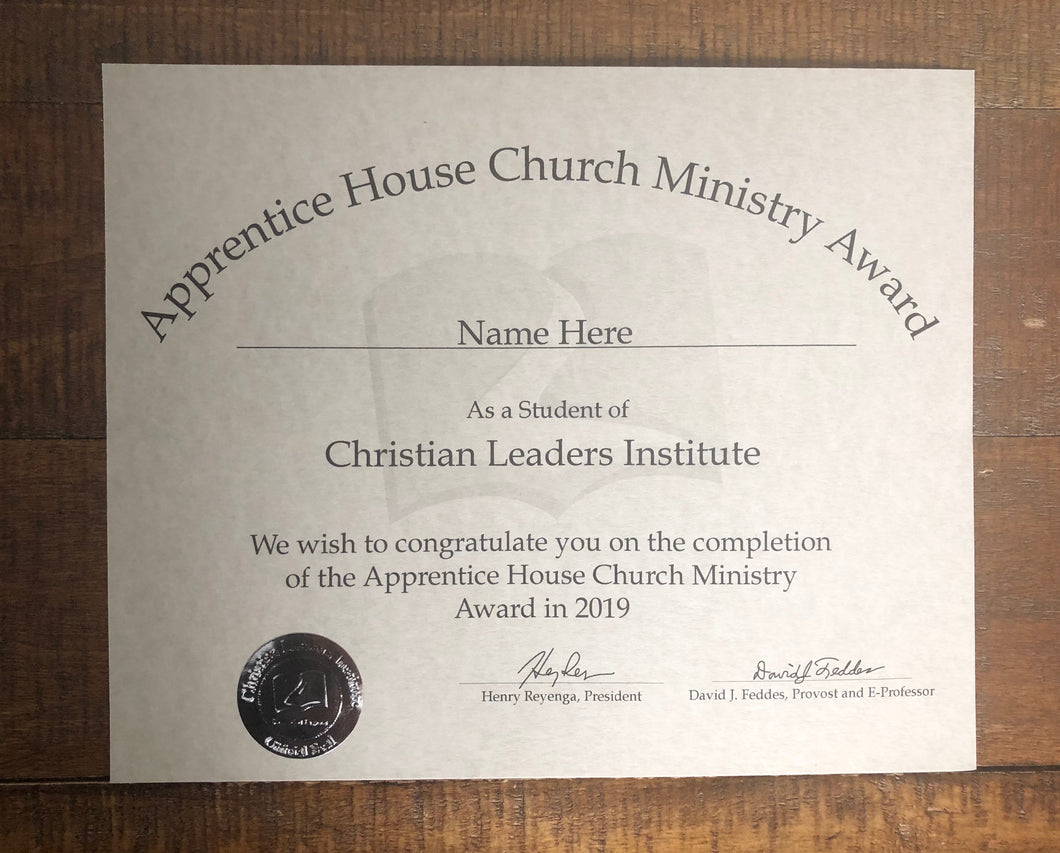 Apprentice House Church Ministry Award (Tier 2)