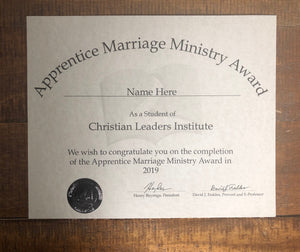 Apprentice Marriage Ministry Award