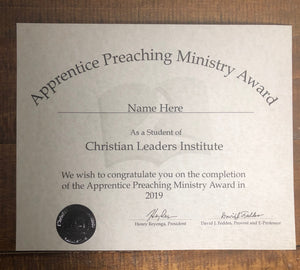 Apprentice Preaching Ministry Award (Tier 1)