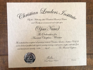 Associate Chaplain Minister Ordination Certificate