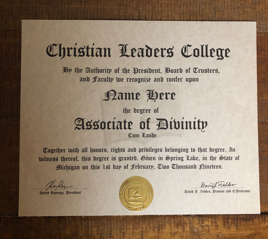 Associate of Divinity Degree