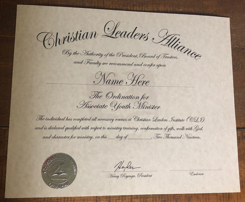 Associate Youth Minister Ordination Certificate