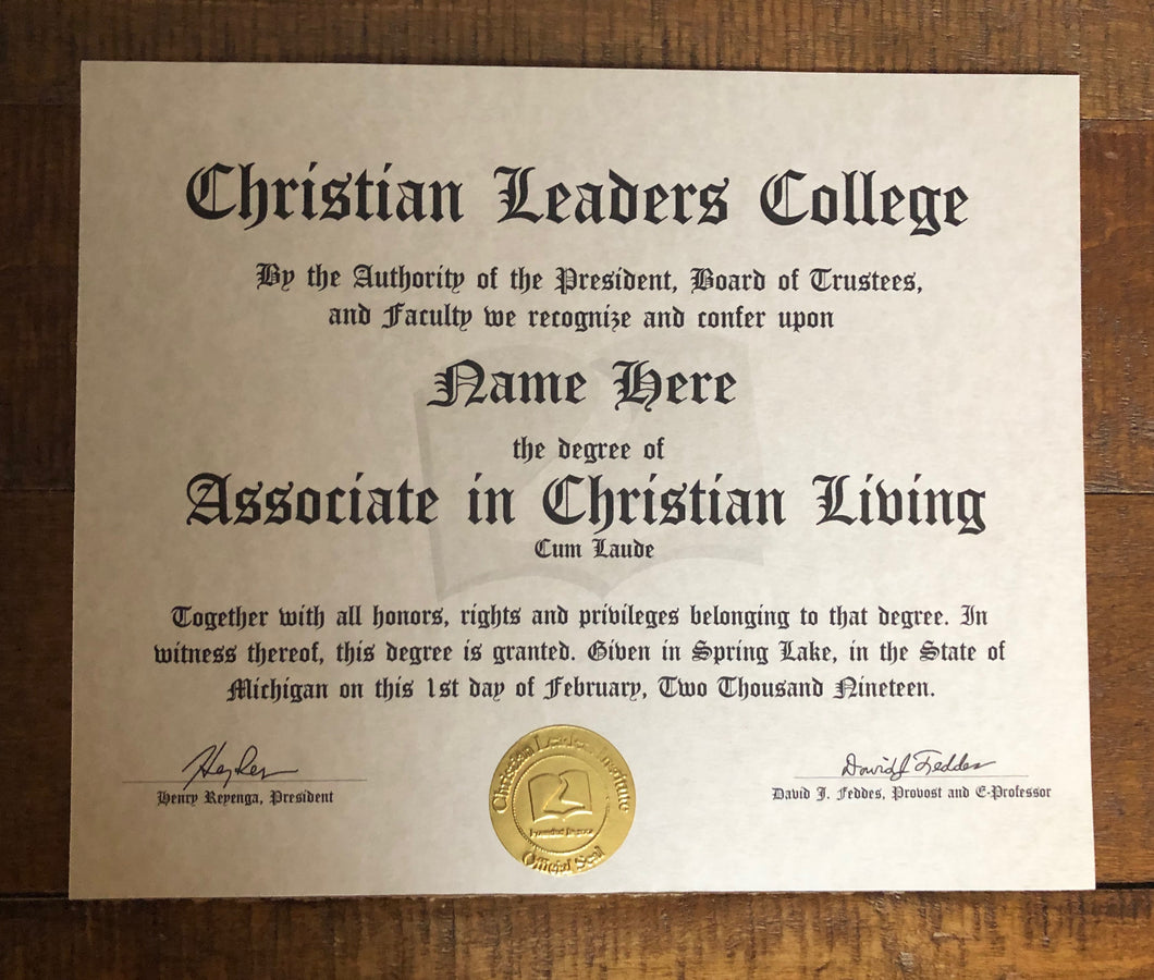 Associate in Christian Living Degree